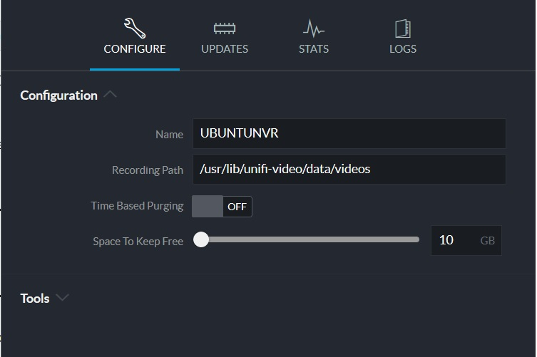 Unifi Video free disk space setting